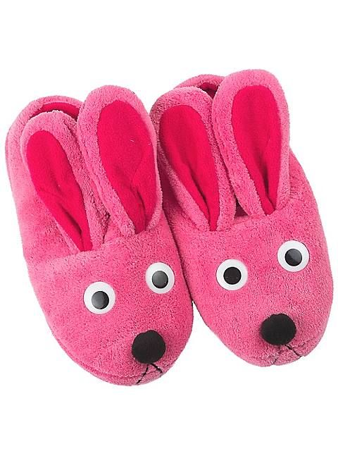 this pair of adult christmas story bunny slippers in pink is comfortable luxurious and super cute it is a pure tribute to ralphie from a christmas story