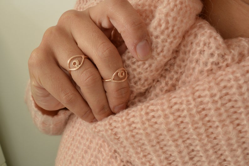 Photo of Rose Gold EVIL EYE Protection Midi Pinky Ring, Rose Gold Stackable Stacking Adjustable Ring, Ottoman Turkish Jewelry, Cheap Gift for Her