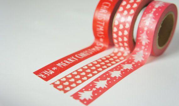 3 rouleaux de rubans de décoration de Noël, ruban japonais, ruban de Noël, décoration de Noël.