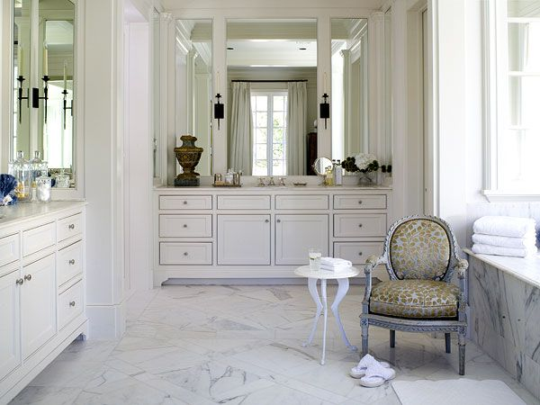 In This Fort Worth Texas Showhouse White Walls Pair With Sleek Intricately Patterned Marble