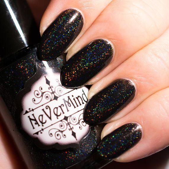 Super Black Holographic Nail Polish Uk: Black Linear Holographic Nail Polish