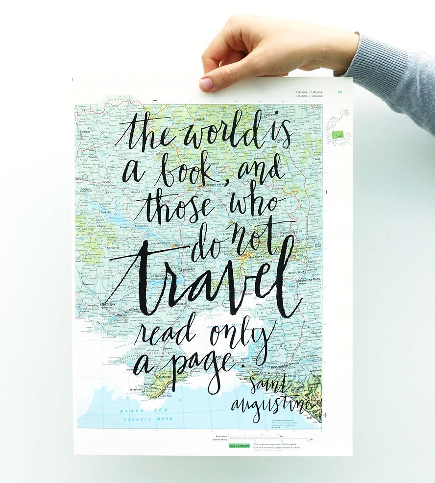 Travel Quote Calligraphy Map Art Print By Mint Afternoon On Scoutmob