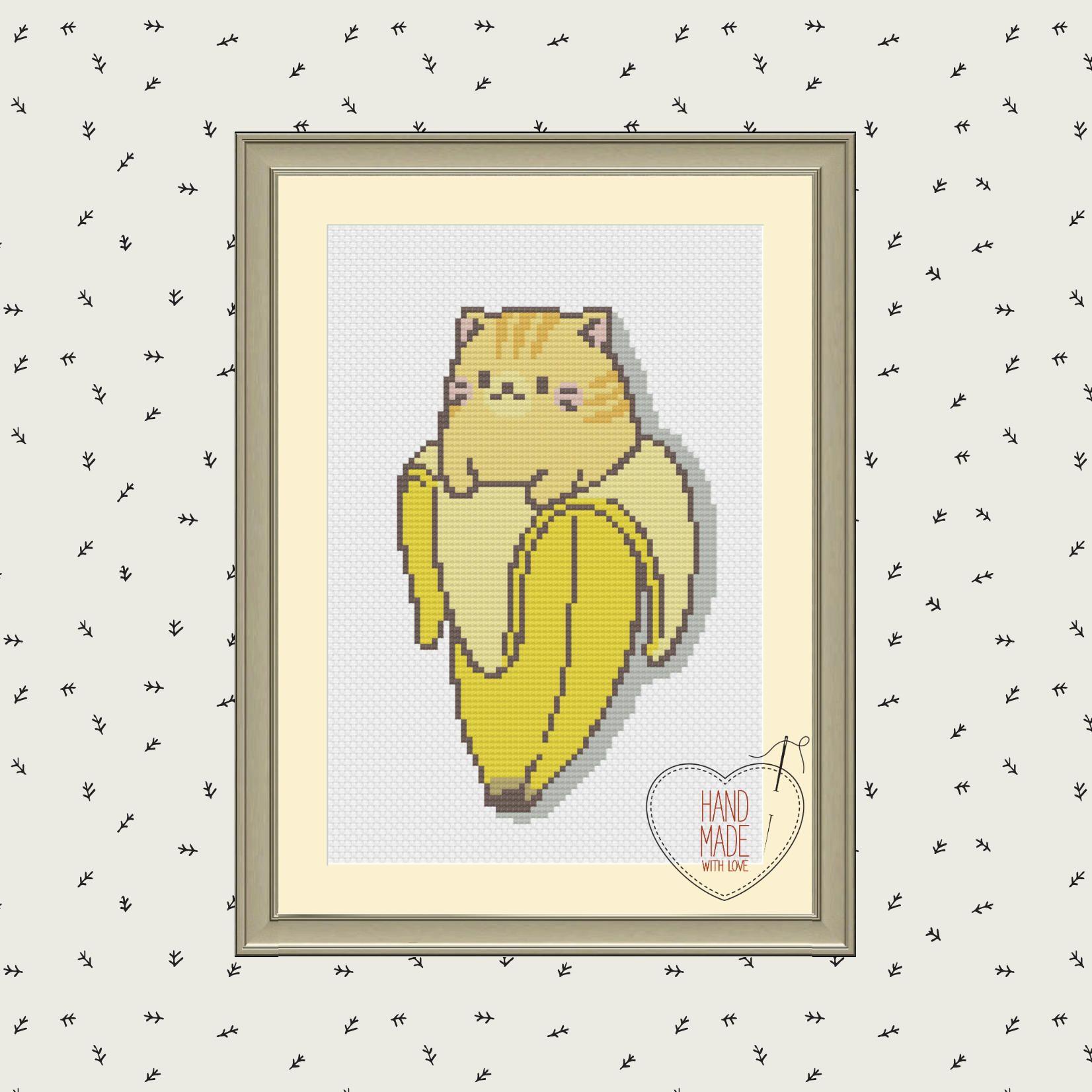 Banana Cat Cross Stitch, Cute Sweet Funny Cross Stitch Embroidery ...