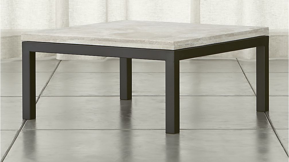Parsons Square Coffee Table With Travertine Top Modern Square