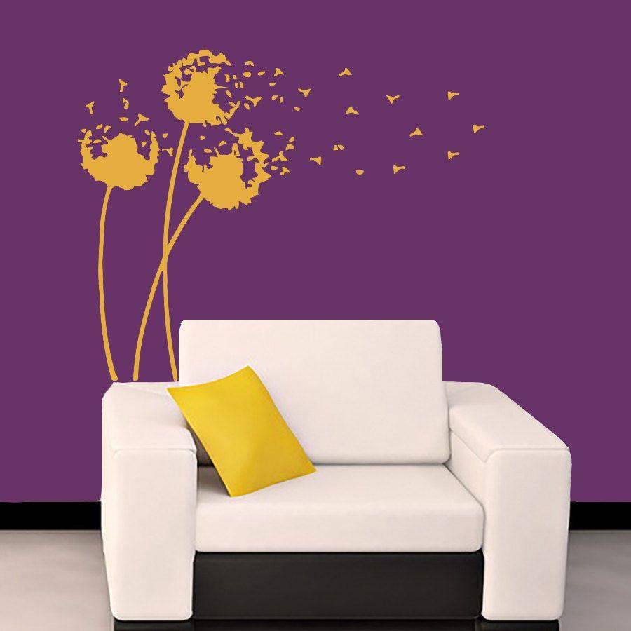 Yellow Dandelion Muursticker Living Room Decor Van Het Huis DIY - Yellow wall decalspopular yellow wall decalsbuy cheap yellow wall decals lots from