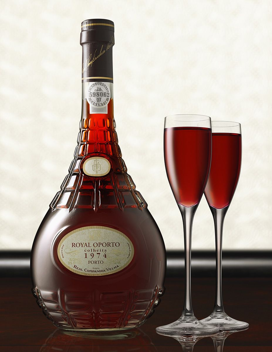 Royal Oporto With Glasses As Photographed By Zack Burris Of Chicago Illinois Wine Bottle Rose Wine Bottle Advertising Photography