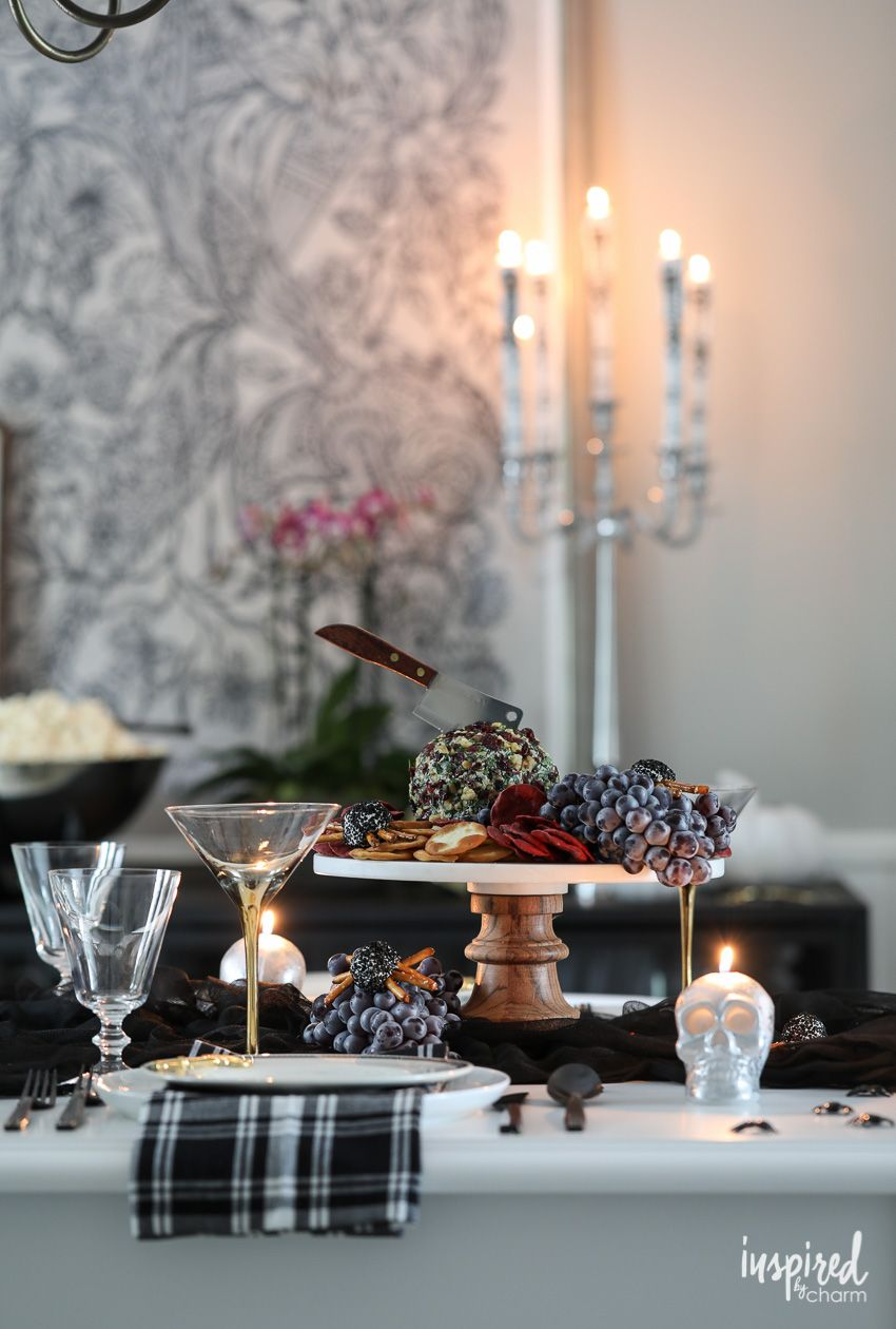 Ideas And Inspiration For Spooky Chic Halloween Table Decorations Halloween Decorations Decor Spooky Tablescape Halloween Camping Halloween Halloween Cake