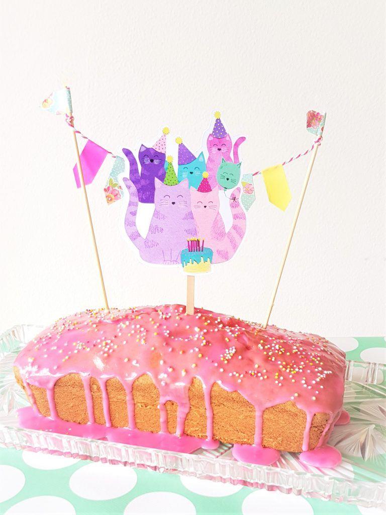 Cat caketopper papieren taart feestjes traktaties