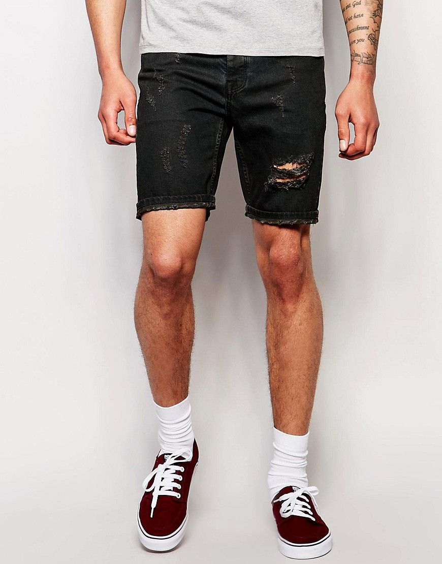 Image 1 of Brooklyn Supply Co Slim Denim Shorts Raw Hem in Light ...