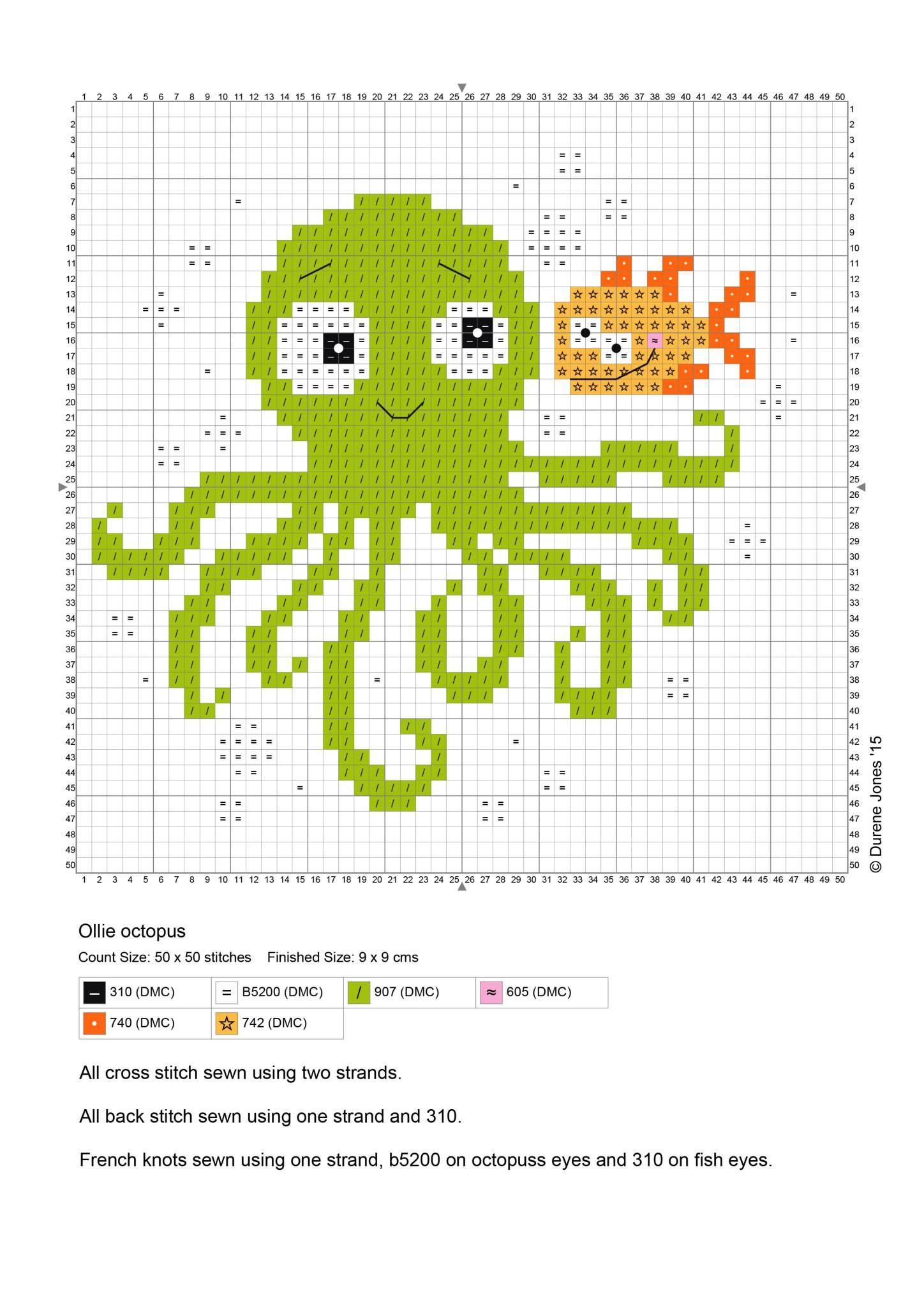 Durene Jones free charts colour 2015 octopus #crossstitch #bib ...
