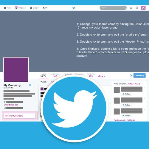 use our photoshop based twitter profile template to create a custom