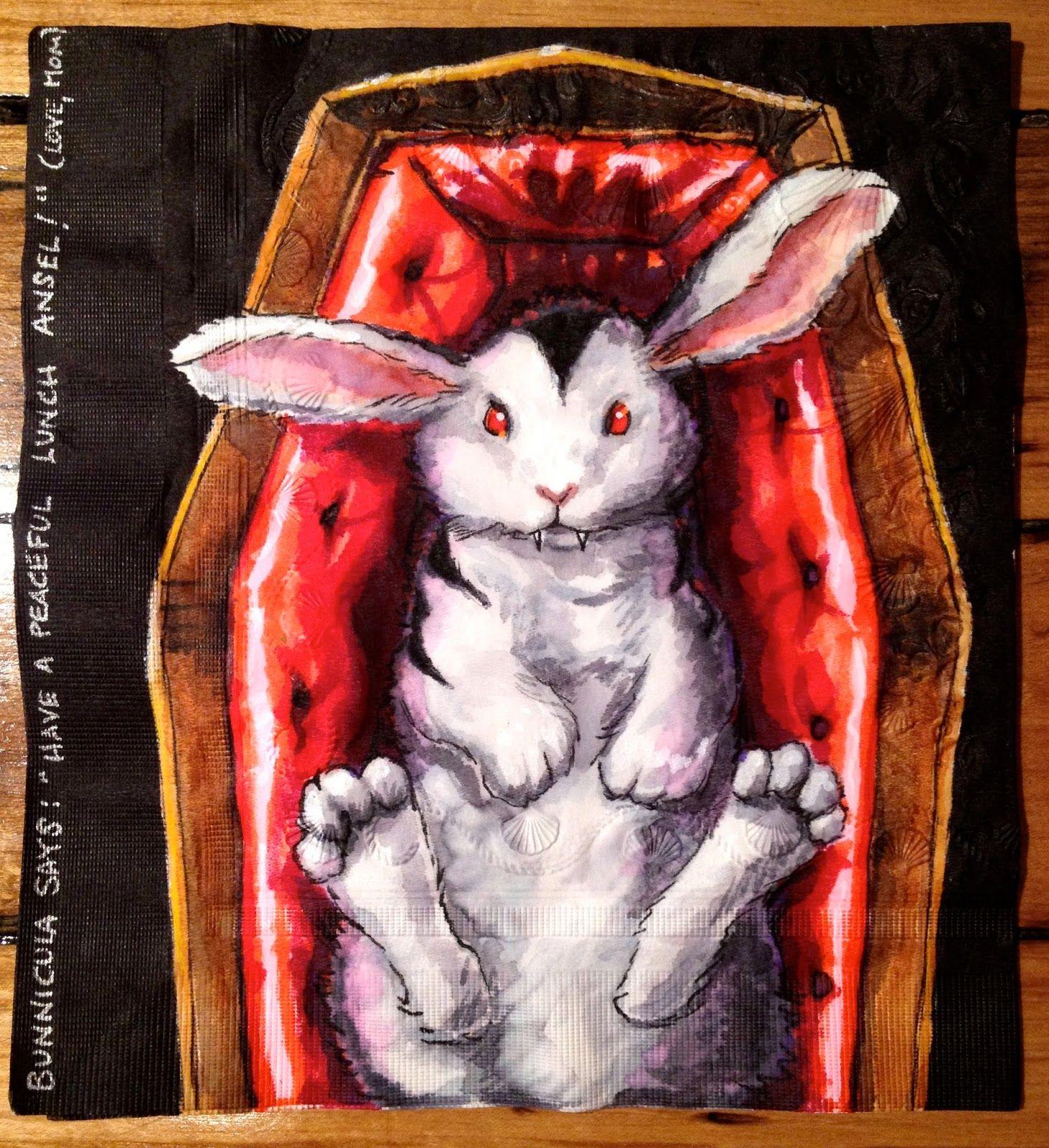 Daily Napkins Vampire Bunny In Coffin Rabbit Painting Halloween Art Kawaii Halloween White tomatoes reading bunnicula