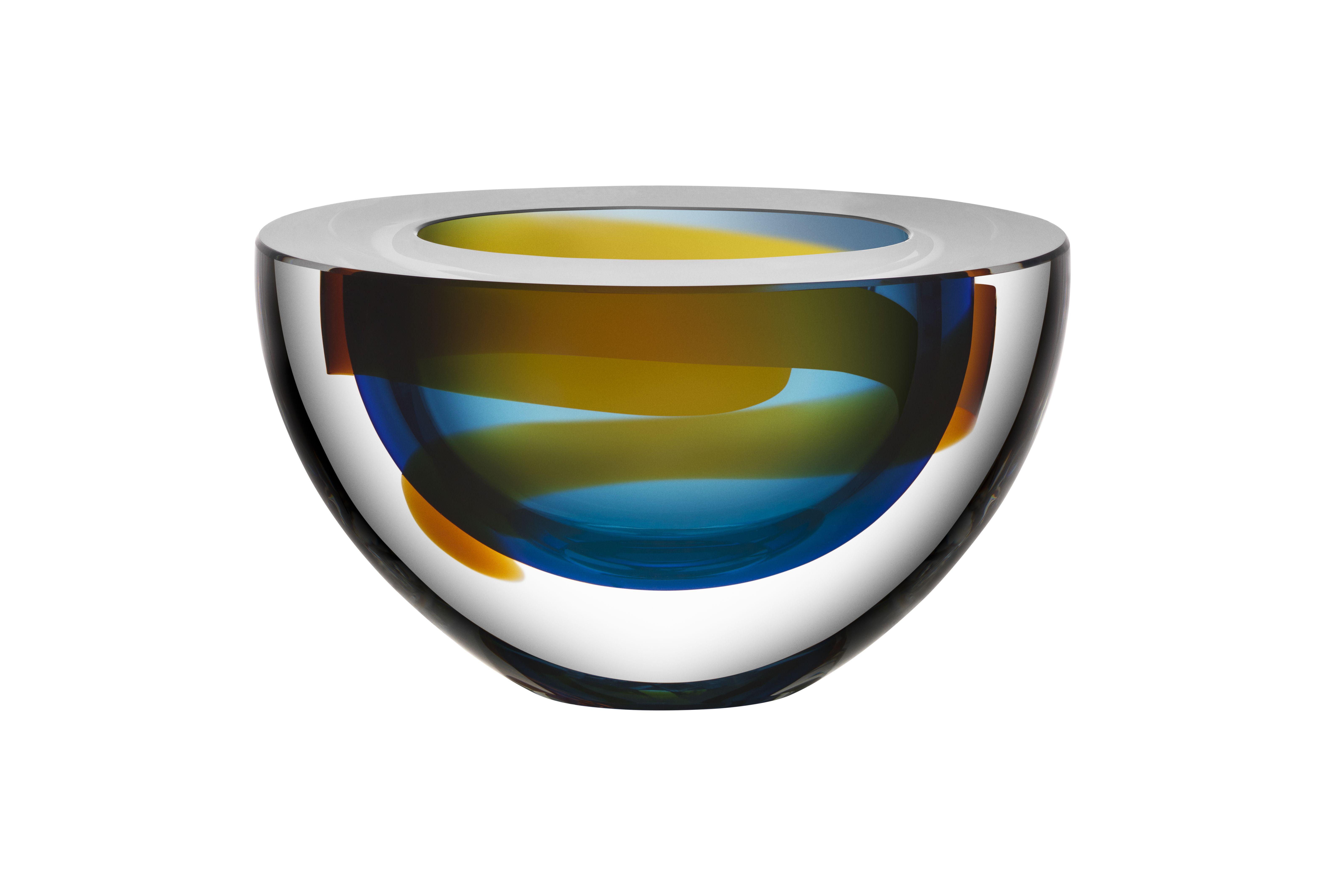 Limited art glass Oval bowl blue by Martti Rytkönen for Kosta Boda