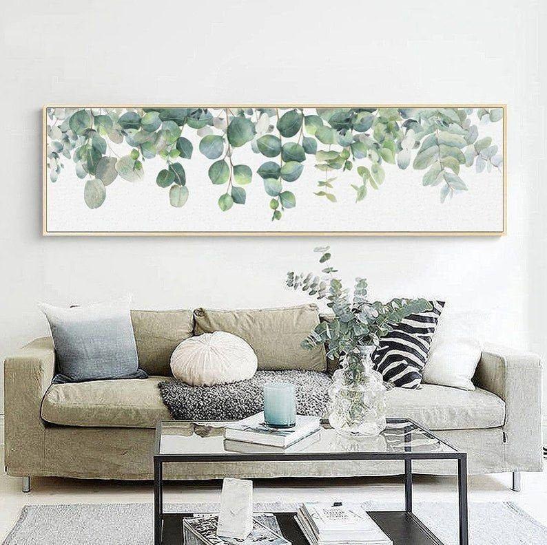 Modern eucalyptus wall art canvas for home decor with
