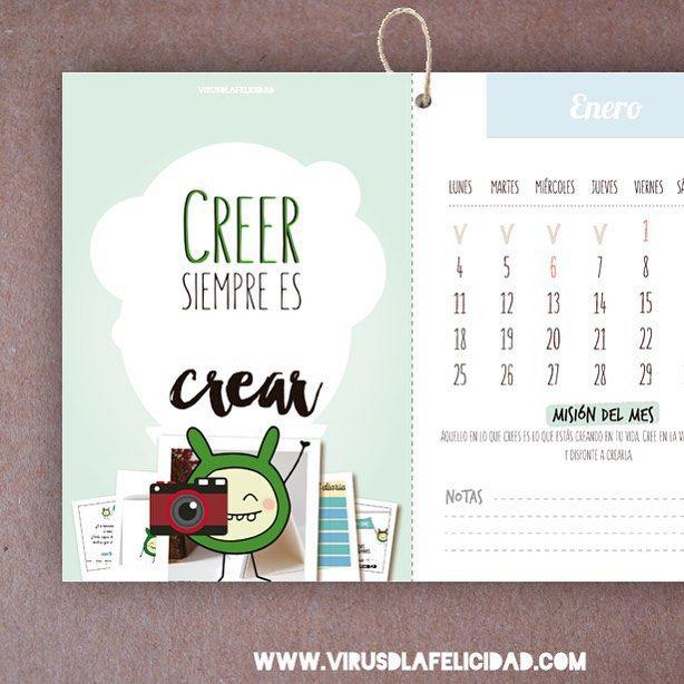 CREER siempre es CREAR.  Lámina de enero en nuestro calendario súper propagador de felicidad 2016.  Ya puedes conseguirlo en http://ift.tt/1n71PmC   #calendario #calendario2016 #virusdlafelicidad #creerescrear #positividad #optimismo #consciencia