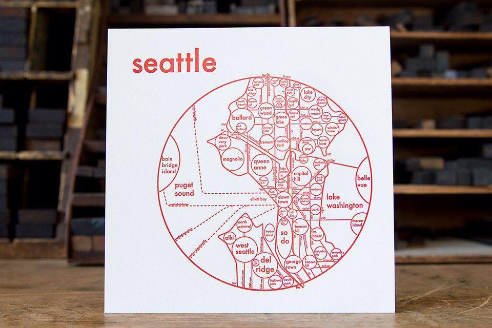 "Seattle Map 8x8 Letterpress 8"" x 8"" Beautiful Minimalist"