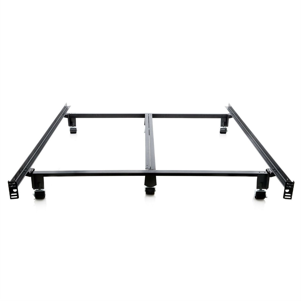 King Heavy Duty Metal Bed Frame With Locking Rug Roller Casters