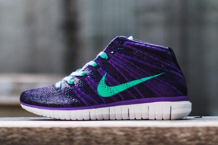 Nike Free Flyknit Chukka Jade Violet Chaussures De Course Noir Occasionnels Nouvelles Travestissement