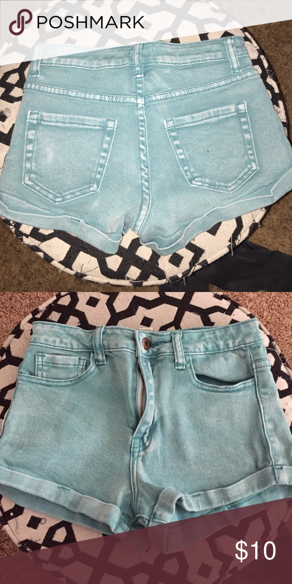 Teal blue jean shorts Tight fitting Jean shorts in Teal Forever 21 Shorts Jean Shorts