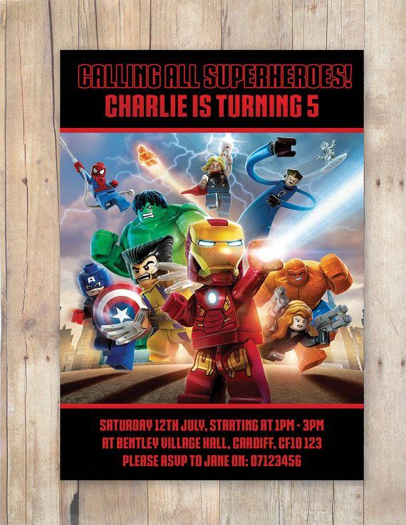 Lego Avengers Birthday Party Invitation By FlurgDesigns On Etsy 500