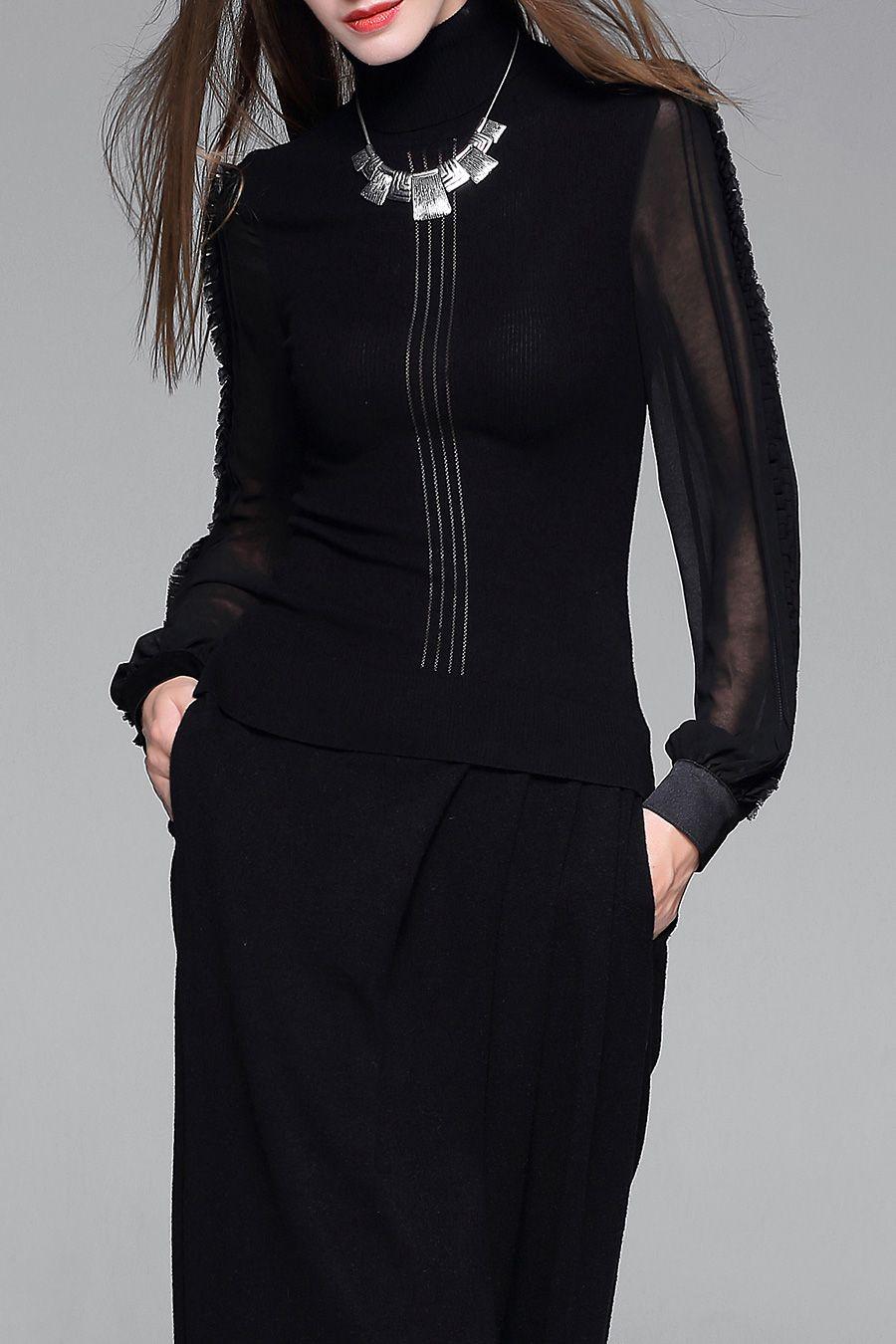 Weiguoyue see through turtleneck sweater lovely fashion