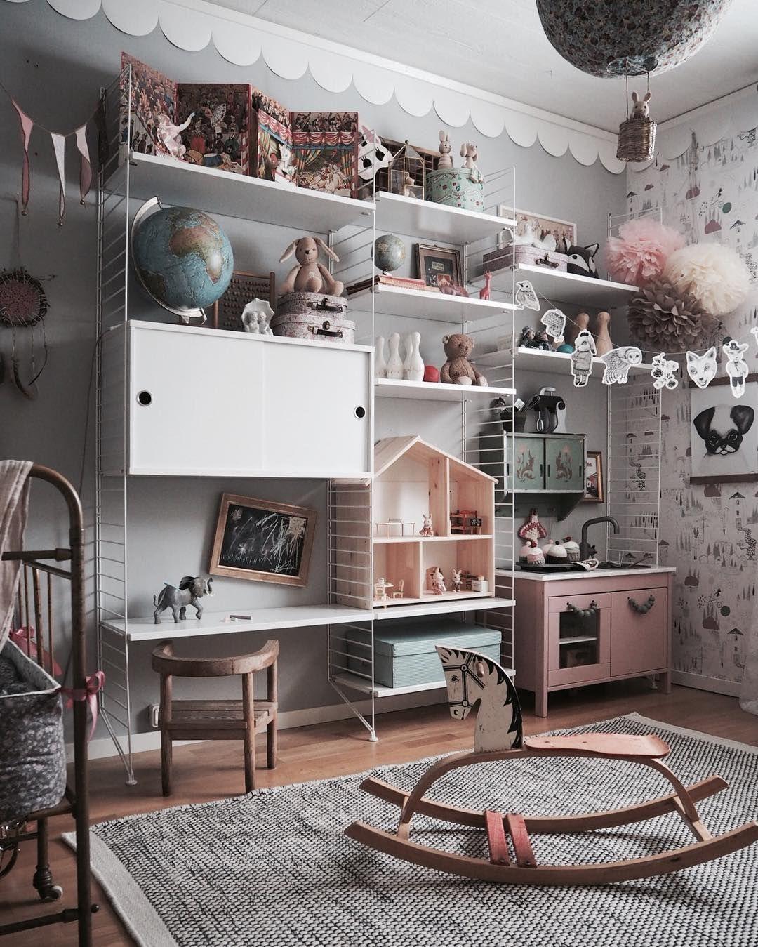 White String Wall Shelves In Kids Room