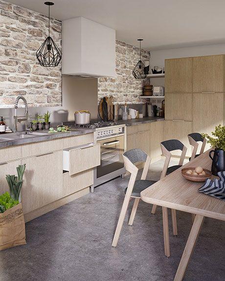 Esprit campagne chic pour la cuisine Kontour. Mélange de bois massif ...