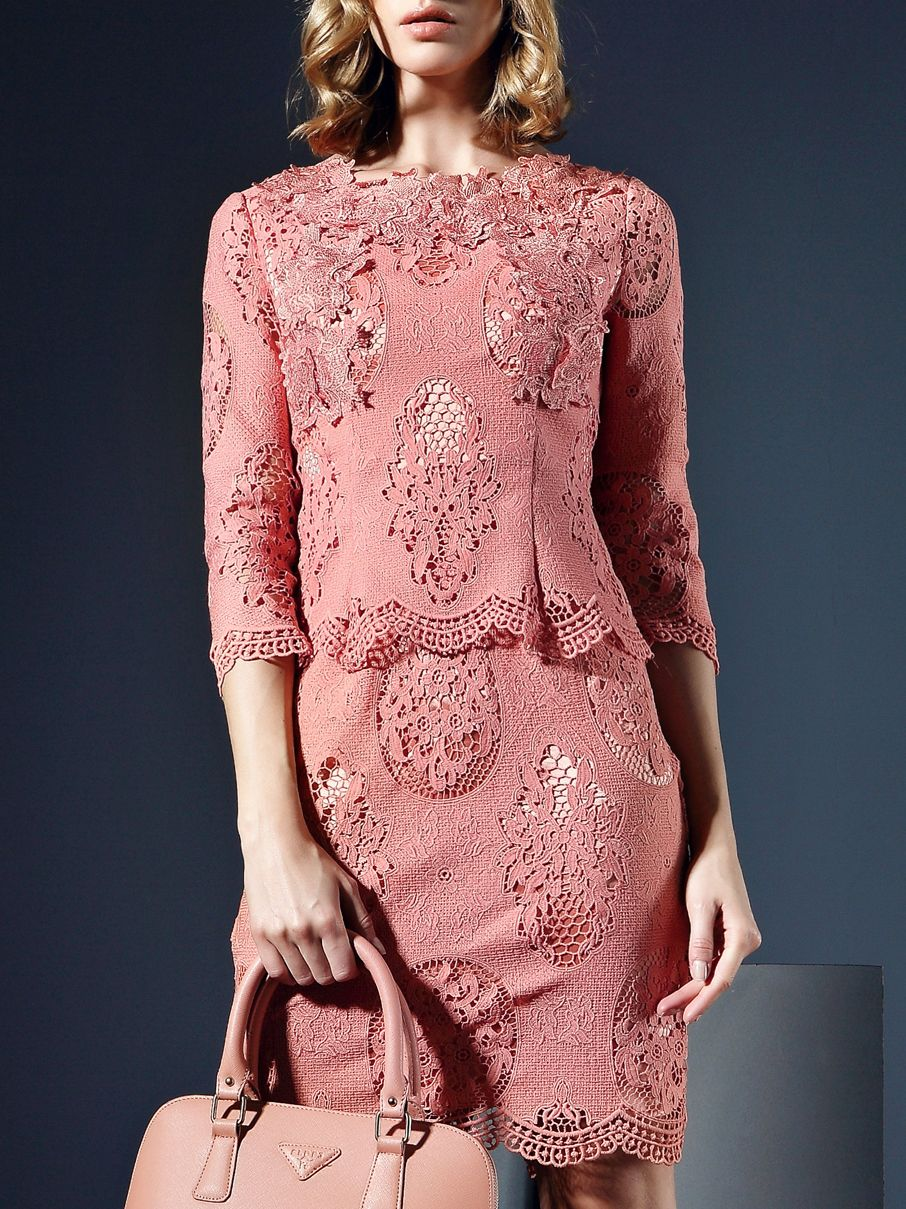 Image of Pink Round Neck Length Sleeve Crochet Dress | CLOTHING ...