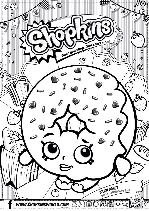 Shopkins colour color page delish donut shopkinsworld