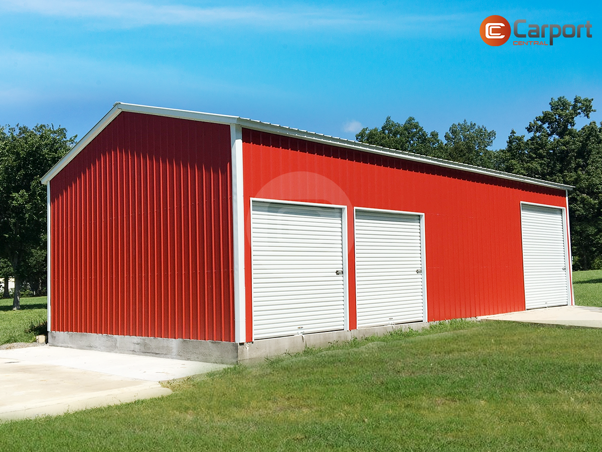 24x46 Enclosed Garage 12 Tall Enclosed Garage Metal Buildings Metal Garages Steel Buildings