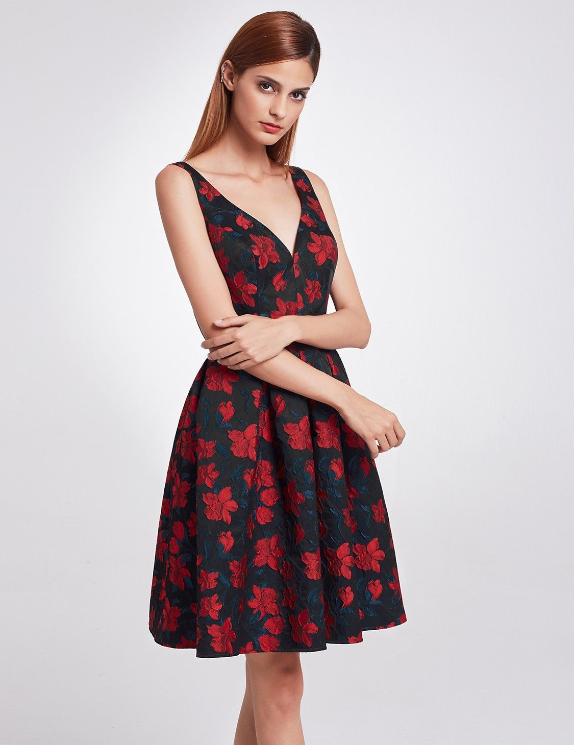 Js collections Floral Embroidered Fit And Flare Gown in
