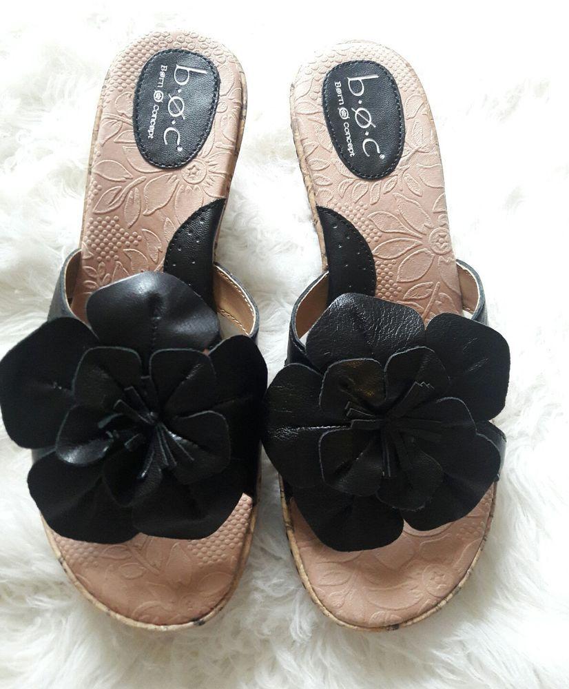 2b5fb48fed Born BOC black flower leather Wedge Sandals new sz 9 #Brn #PlatformsWedges  #Casual