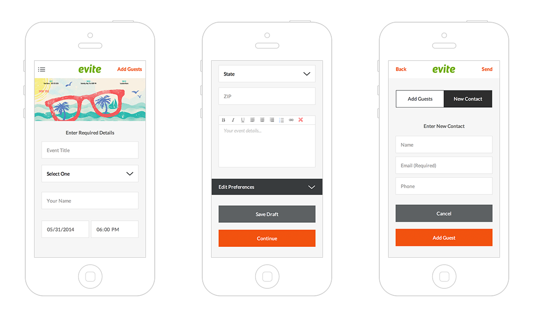 Evite Mobile Web User interface design and direction for