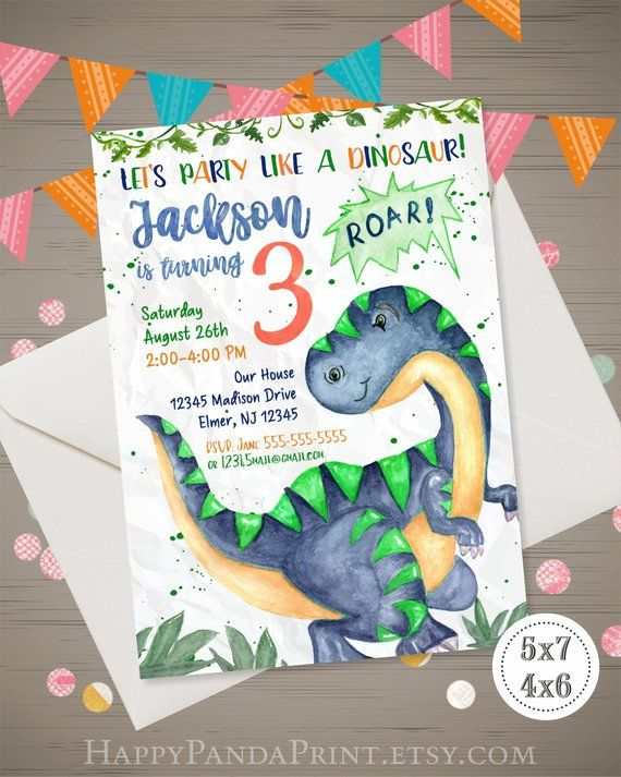 Dinosaur Birthday Invitation Watercolor Dinosaur Invitation
