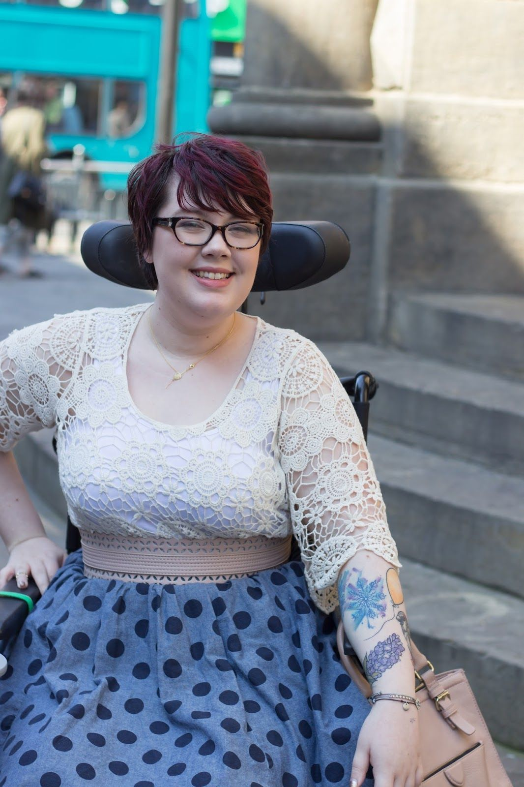 Wheelchair Fashion: Spots, Crochet & Golden Balloons Crochet tops are very in right now apparently. I am LOVING them & have worn this one way way too often. I love wearing it with this skirt, polka dots look cute with everything!