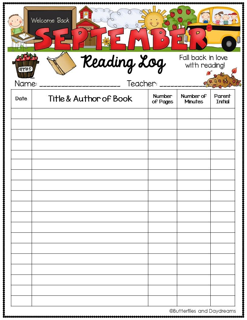 Reading Log {September} | FREE LESSONS & PRICED LESSONS ...