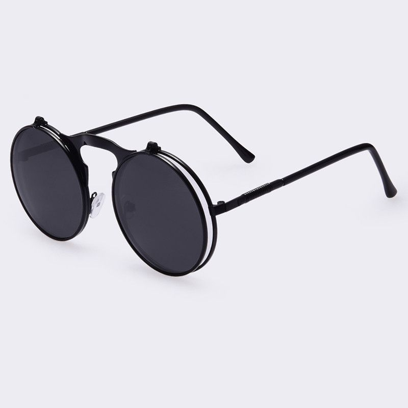 2bf55f0504fda Vintage Steampunk Sunglasses round Designer steam punk Metal Oculus Coating  Mens Retro Circle Sunglasses