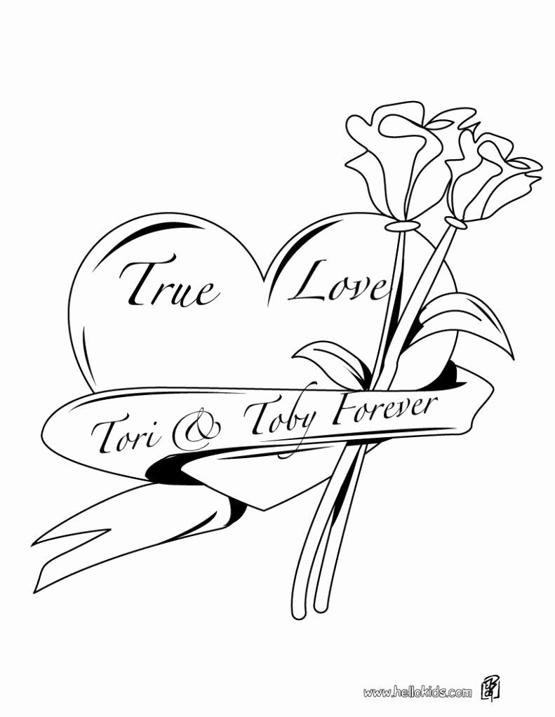 Coloring Pages Of Roses And Hearts Collection
