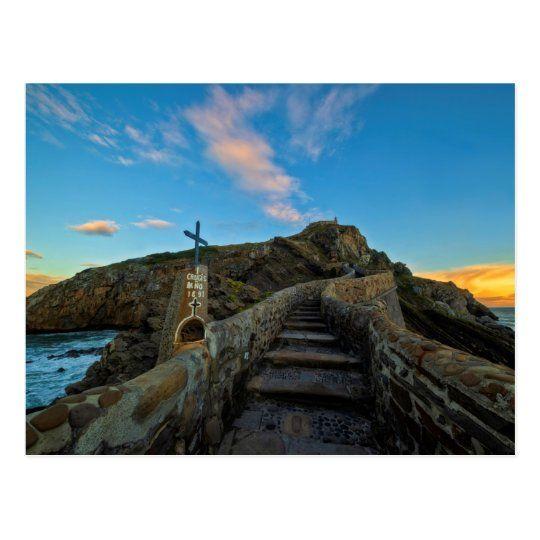 Postal de las escaleras a San Juan de Gaztelugatxe al amanecer