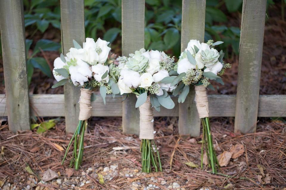 Bridesmaids Bouquet; DIY; Cotton, Succulents; Roses; Burlap; Southern Wedding; Oak Level Farm