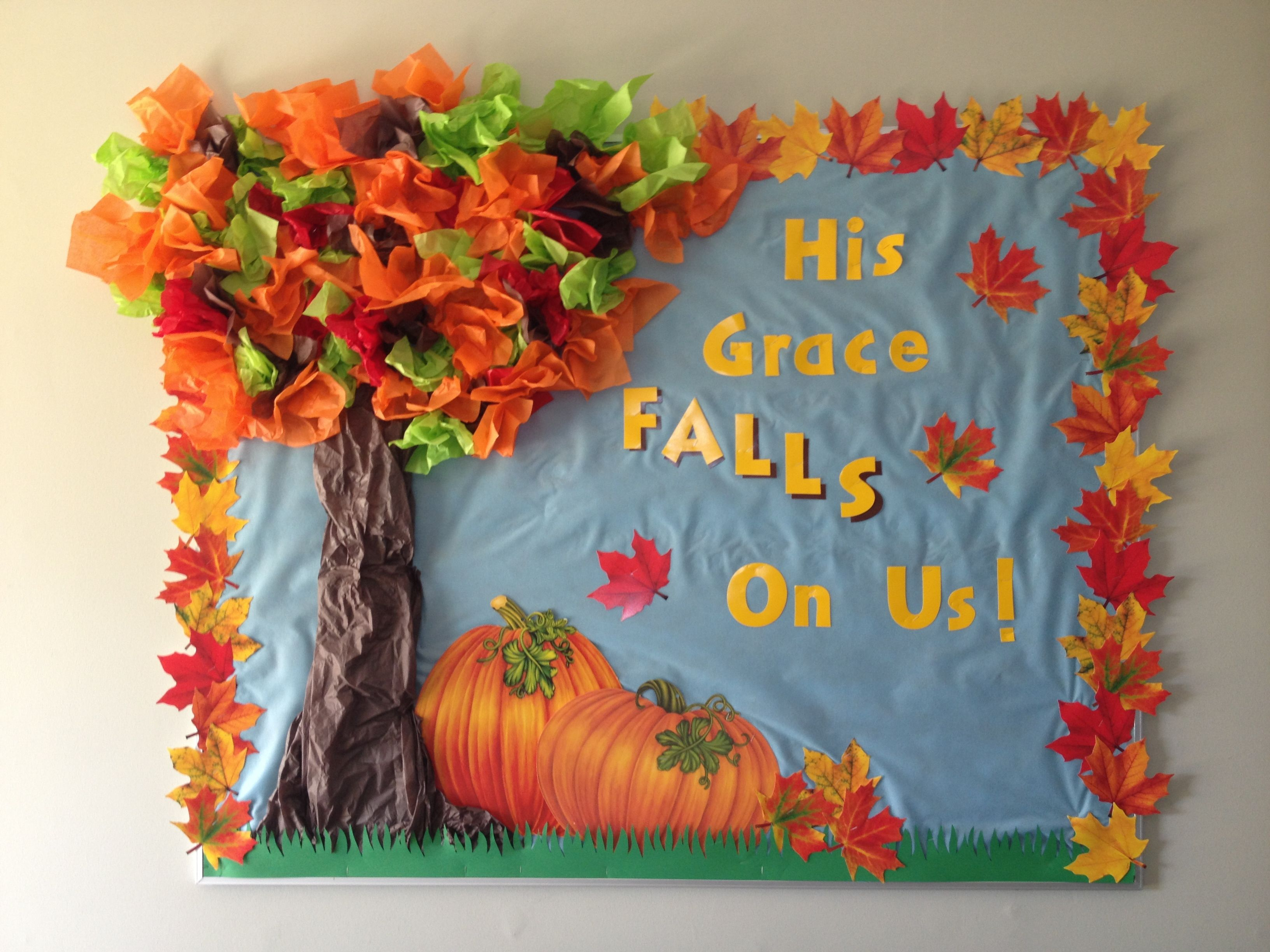 Fall Bulletin Board Copied The Words From Another Post Thanksgiving Boards Christian