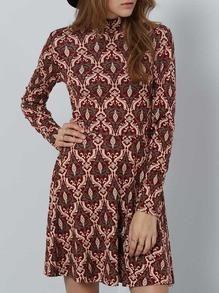 Vintage Burgundy Multicolor Long Sleeve Vintage Print Dress