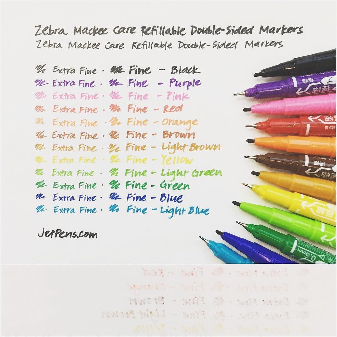 The refillable Zebra Mackee Care Markers have an alcohol- and oil-based ink that is quick-drying & water-resistant. They write on a variety of surfaces including paper fabric glass plastic metal and more! . See all the colors: http://to.jetpens.com/2fdDG33 . #instajetpens #writingsamplewed #zebramackee #mackeecare #multisurface #crafty #craftsupplies #markers
