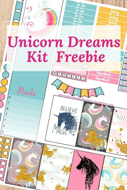 Free unicorn dreams printable planner stickers for happy planner