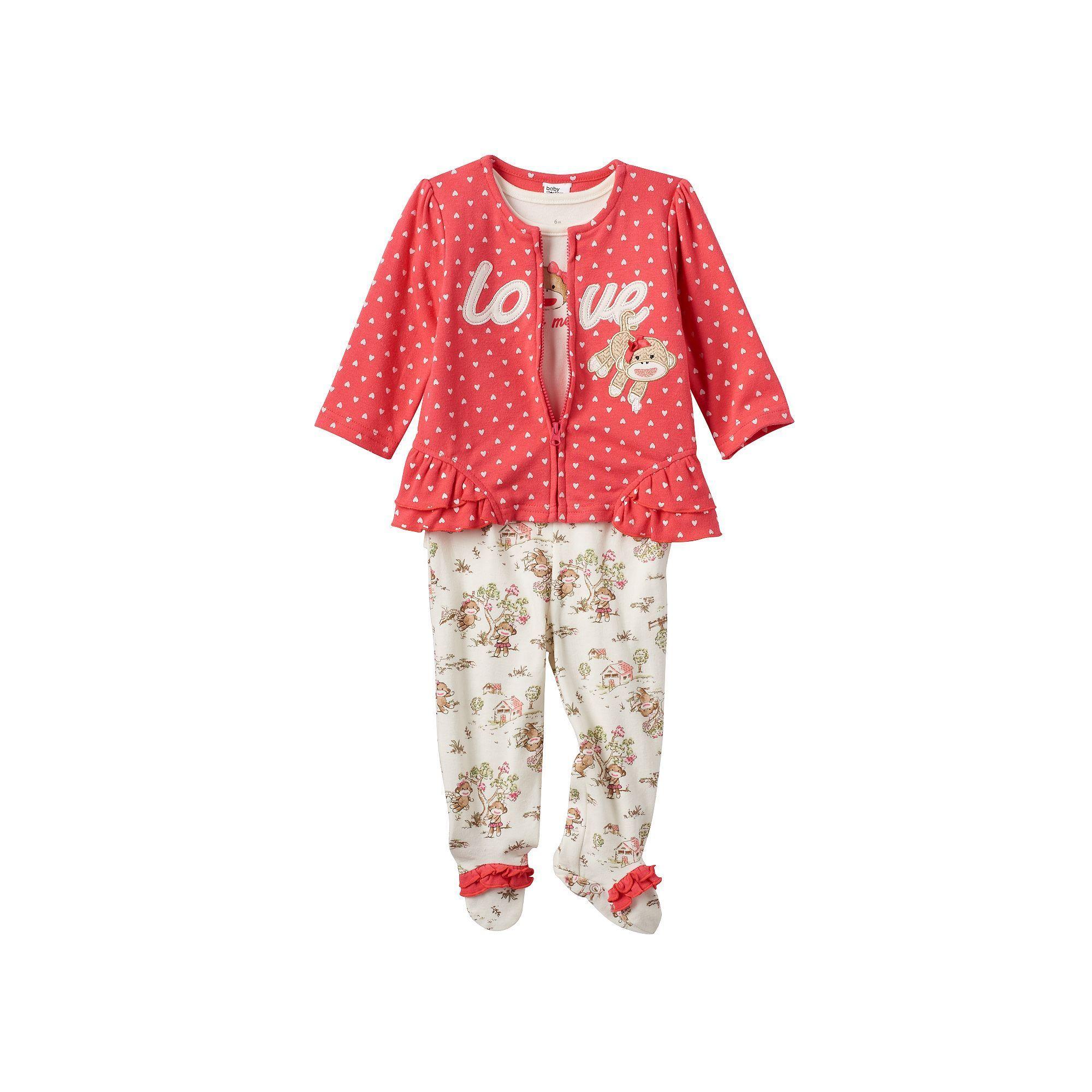 Baby Girl Baby Starters Sock Monkey 3 pc Jacket Bodysuit & Footed