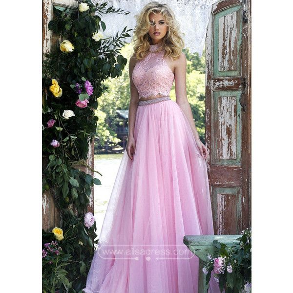Cheap Pink Two Piece Lace Halter Crop Top Long Prom Dress 2016 ($189 ...