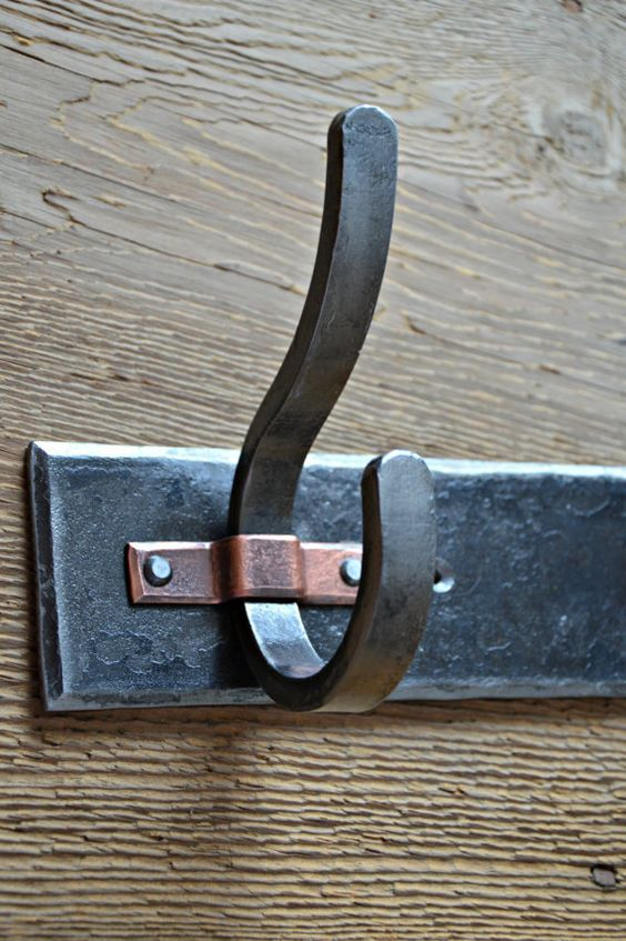 4 Hook hand forged coat rack with copper by MetcalfeIronWorks