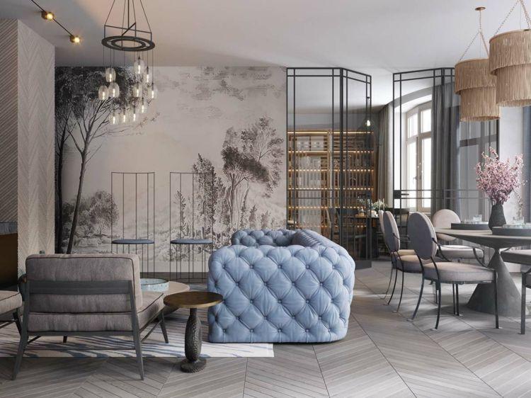 Taupe Grau Blau Wohnzimmer Farbgestaltung #wohnzimmer #livingroom