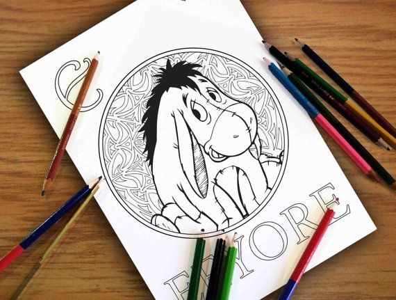 Disney Coloring Pages Eeyore Gift For Kids Zentangle Sheets PDF