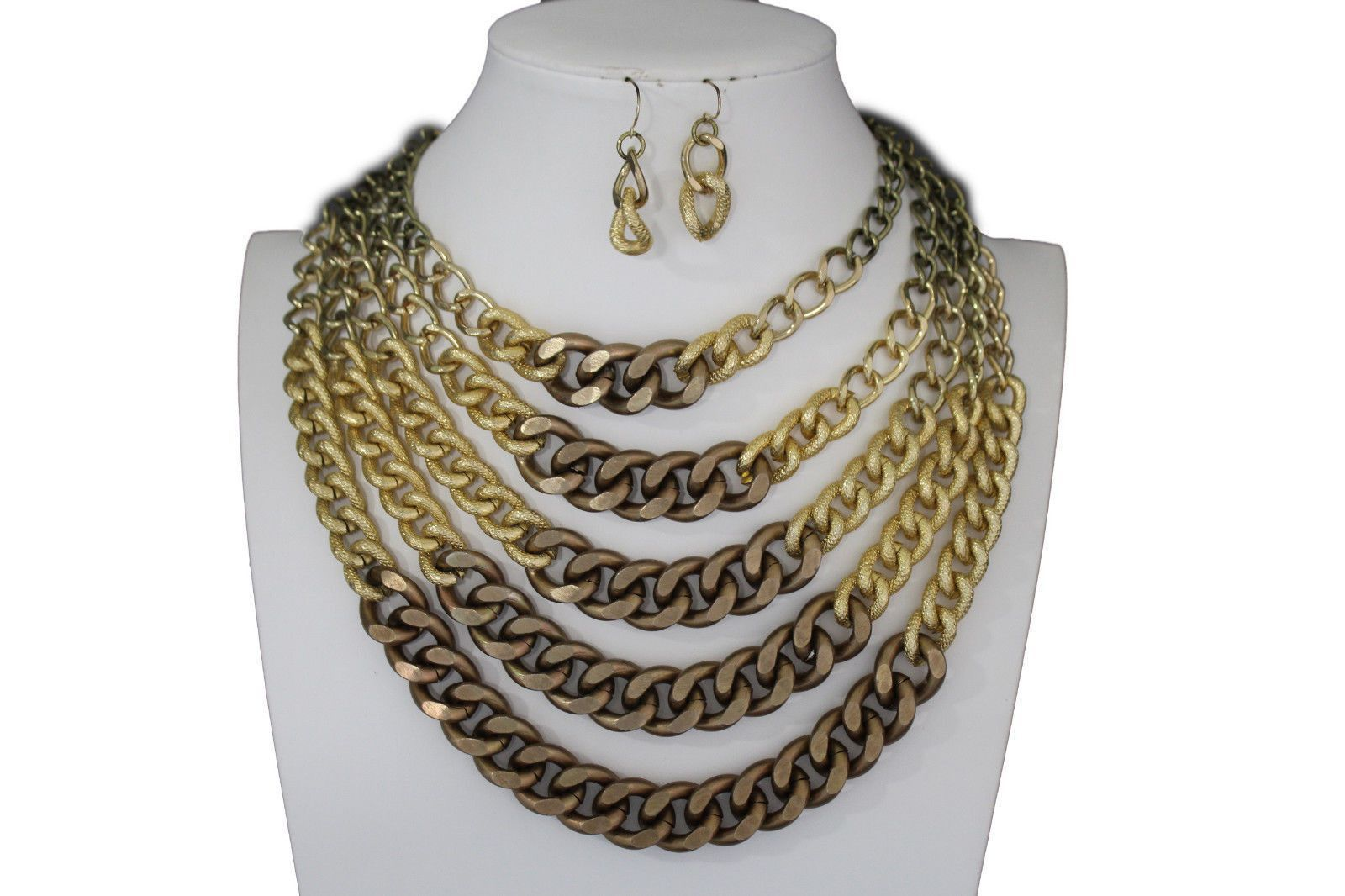Gold bronze chunky metal chains strand necklace earrings set new